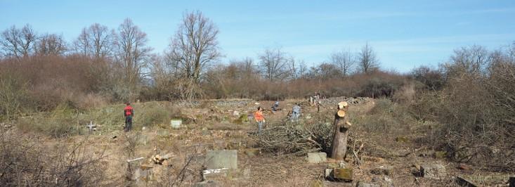 Březnové brigády na hřbitově ve Svatoboru